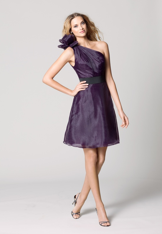 affordable bridesmaids dresses Fall 2012 WTOO by Watters bridal party eggplant purple one shoulder