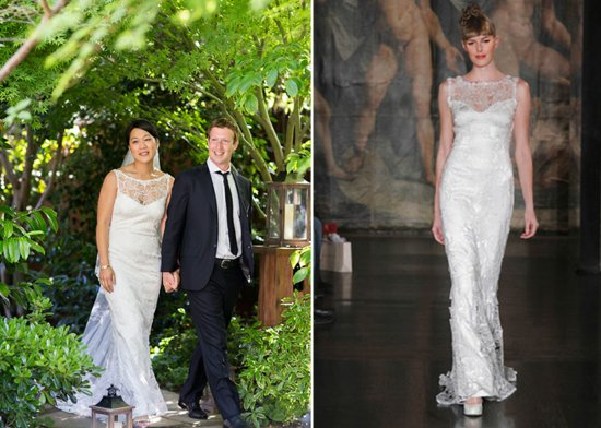 mark zuckerberg wedding bridal gown by claire pettibone