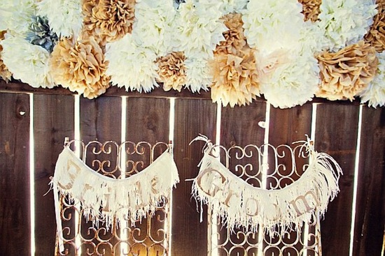 photo of Bride and Groom wedding signs