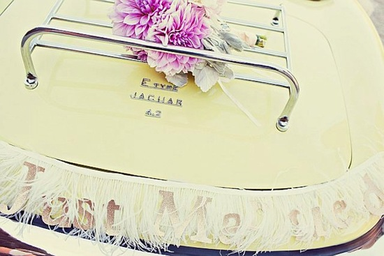 just married wedding sign feathers