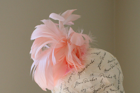 pink bridal hat feathers