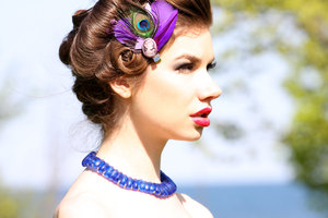 photo of Purple cameo feather fascinator