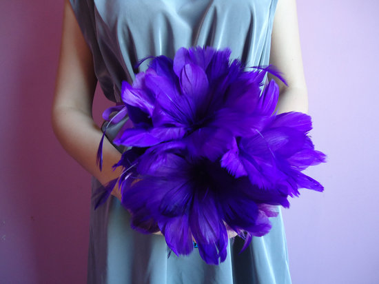 deep violet feather bridesmaid bouquet