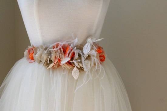 orange cream gold wedding dress sash with feathers