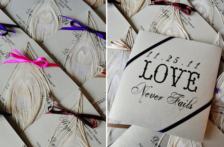 feather adorned wedding reception escort cards