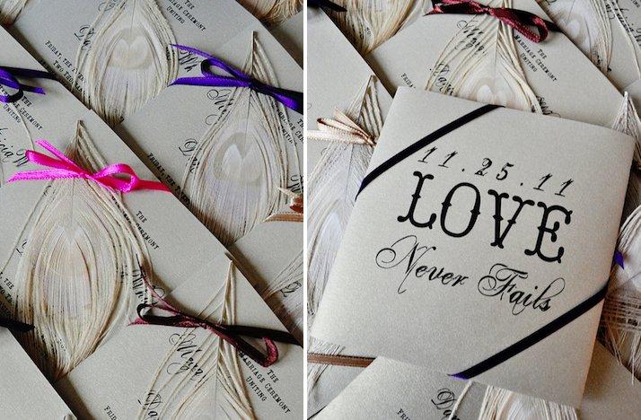 Feather-adorned-wedding-reception-escort-cards.full