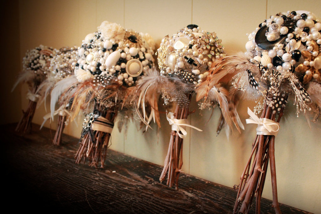 feather brooch wedding bouquets