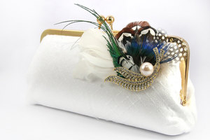 photo of Peacock passion bridal clutch