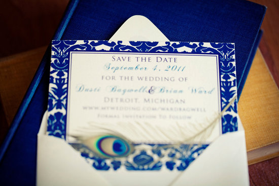 photo of Damask and peacock wedding save-the-date