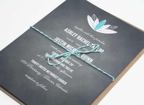 chalkboard wedding invitations feather design