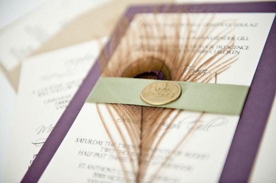 photo of Eggplant and sage peacock wedding invites