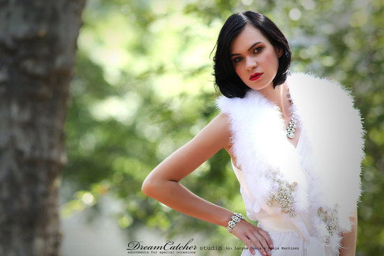photo of Feather and crystal bridal bolero