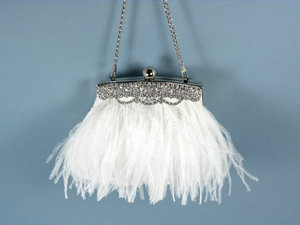 photo of Feather trimmed bridal clutch