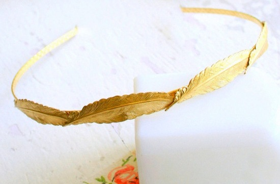 photo of Gold plated feather bridal headband