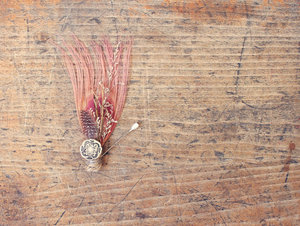 photo of Peach feather boutonniere