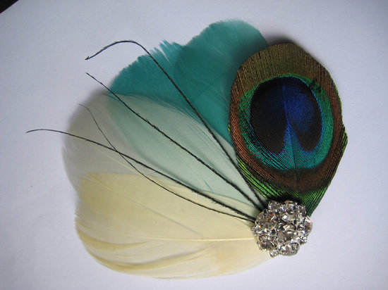 photo of Peacock wedding hair piece