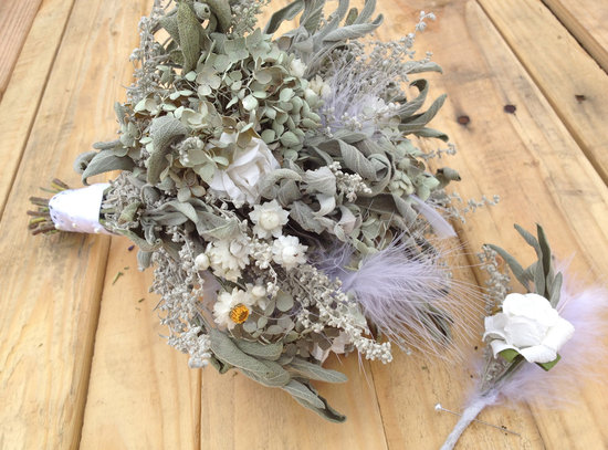 photo of Dried herb and feather bridal bouquet