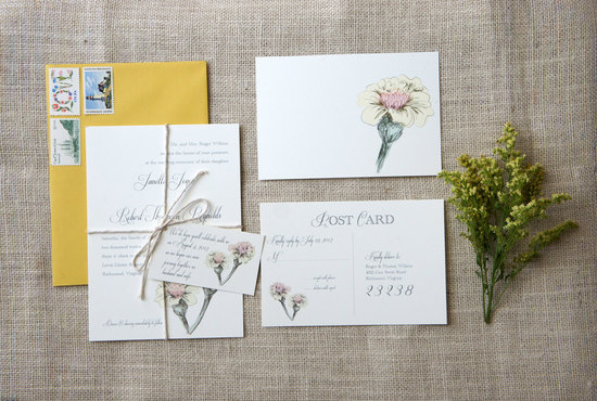 photo of Vintage-inspired floral wedding invite