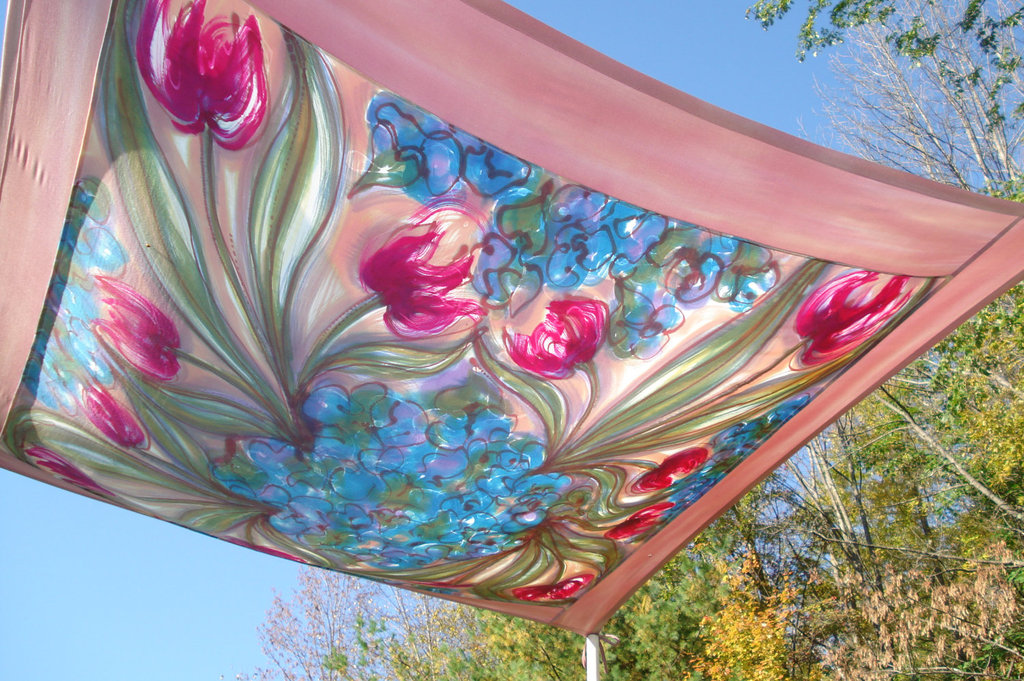 handpainted floral chuppah outdoor wedding reception