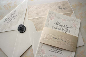 photo of Floral letterpress wedding invitation