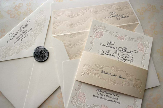 floral letterpress wedding invitations elegant