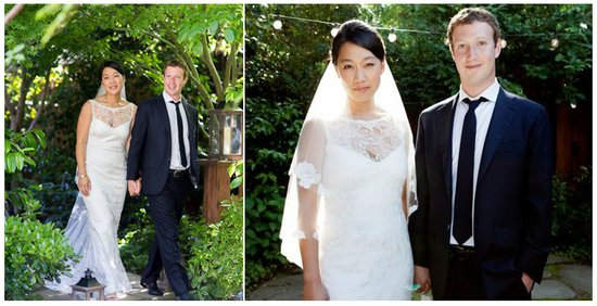 photo of mark zuckerberg gets married bride in claire pettibone
