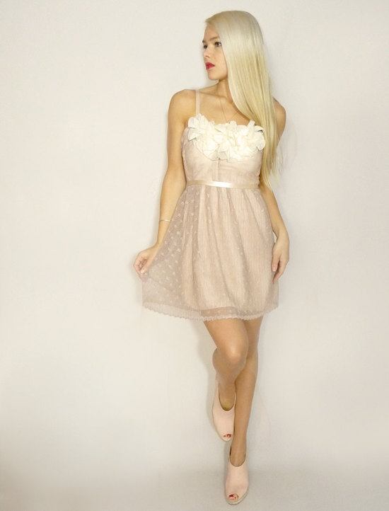 photo of Beige vintage lace slip dress