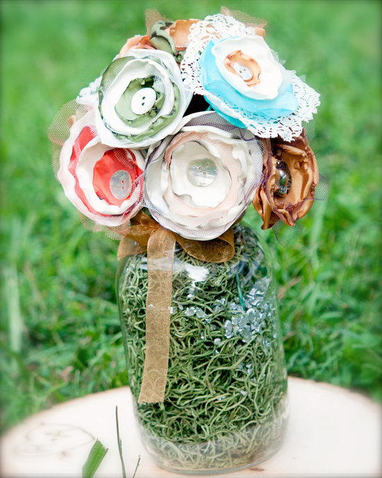 photo of Rustic romance fabric flower wedding centerpiece
