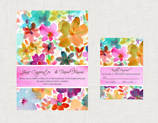 photo of Floral watercolor wedding invitation