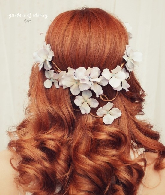 photo of gardens of whimsy wedding hair wreath floral