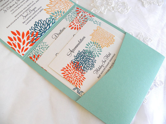 aqua coral gold wedding invitations handmade wedding stationery