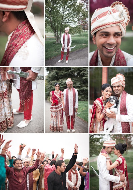 real wedding in Chicago Indian wedding bride groom portraits
