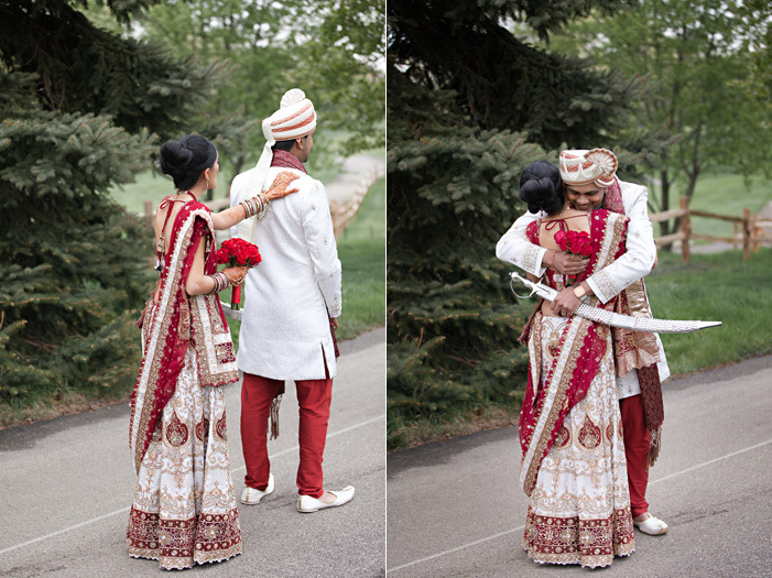 Cultural-real-wedding-indian-weddings-chicago-il-gold-red-mahogony-first-look-outdoor-setting.full