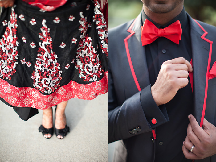 Cultural-real-wedding-indian-weddings-chicago-il-black-red-bride-groom-attire-for-reception.full