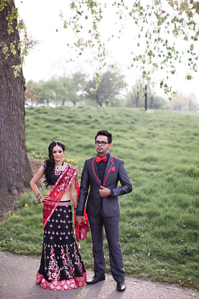 real wedding Indian weddings Chicago IL black red bride groom attire ...