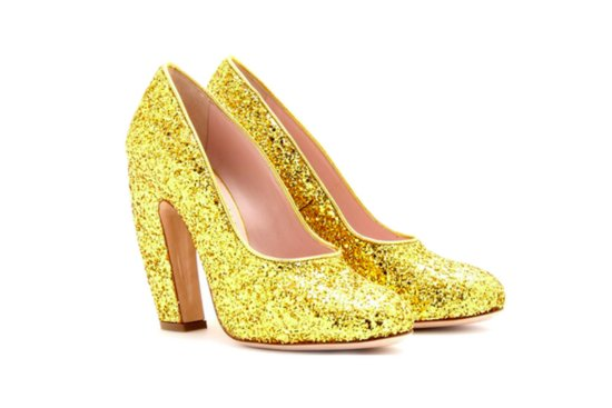 wedding accessories DIY gold bridal heels Miu Miu