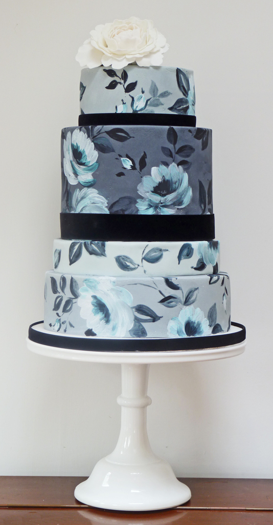 photo of wedding cakes for spring summer weddings romantic floral painted cakes gray blue