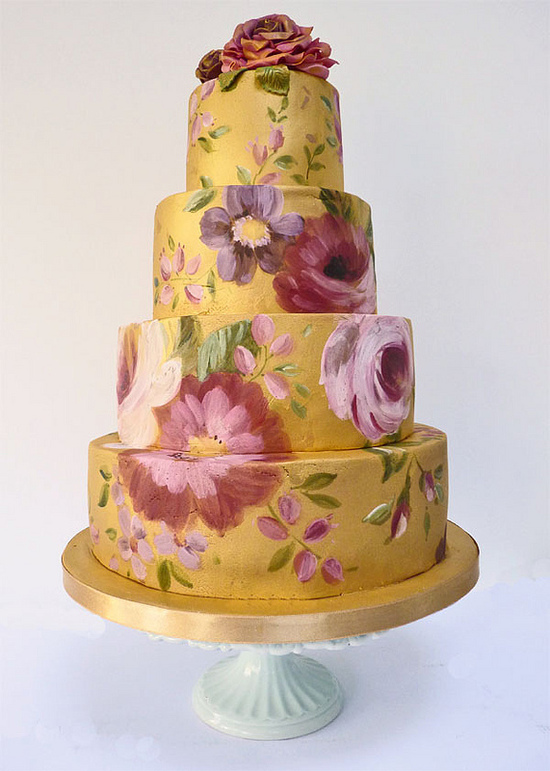 photo of elegant painted wedding cakes for spring gold purple pink