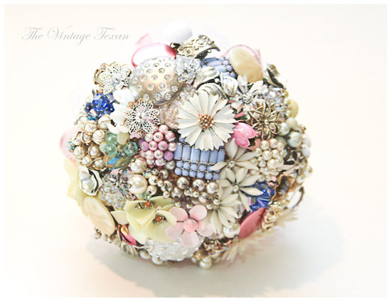 pastel bridal brooch bouquet shabby chic