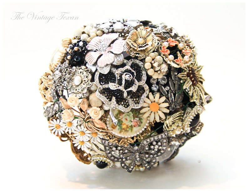 Vintage-bridal-brooch-bouquet-black-silver-coral-gold.full