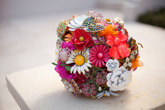 pretty brooch bridal bouquet red orange pink