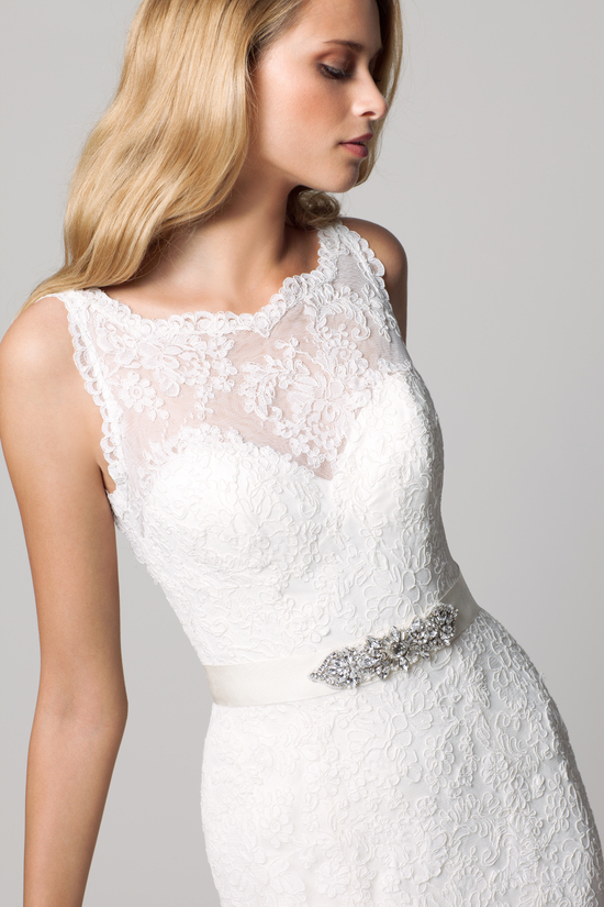 fall 2012 wedding dress WTOO bridal gown by watters lace illusion neckline