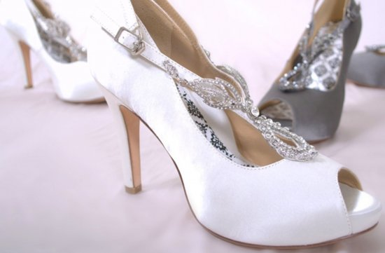 white silver peep toe wedding shoes