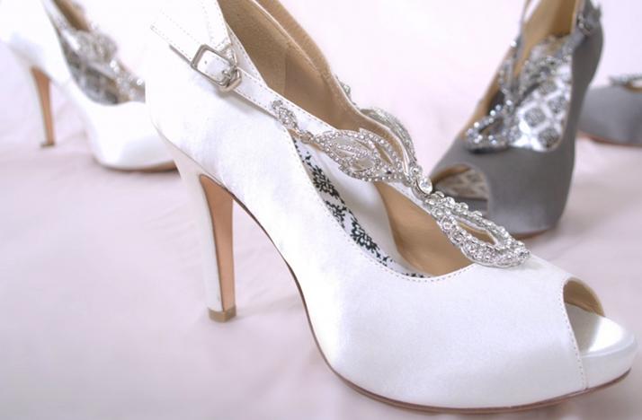 White Silver Peep Toe Wedding Shoes