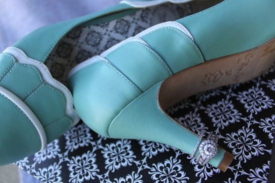 turquoise wedding shoes with diamond engagement ring