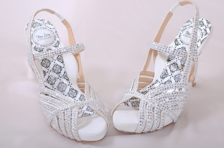 Hey lady wedding shoes vintage inspired bridal heels white rhinestones