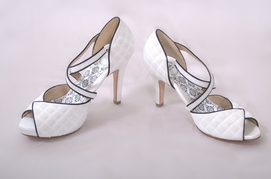 hey lady wedding shoes vintage inspired bridal heels white with black piping