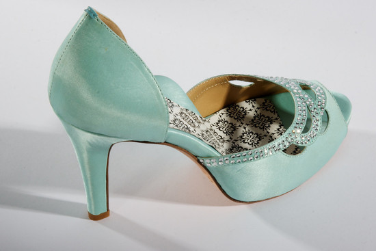 hey lady wedding shoes vintage inspired bridal heels teal satin with crystals