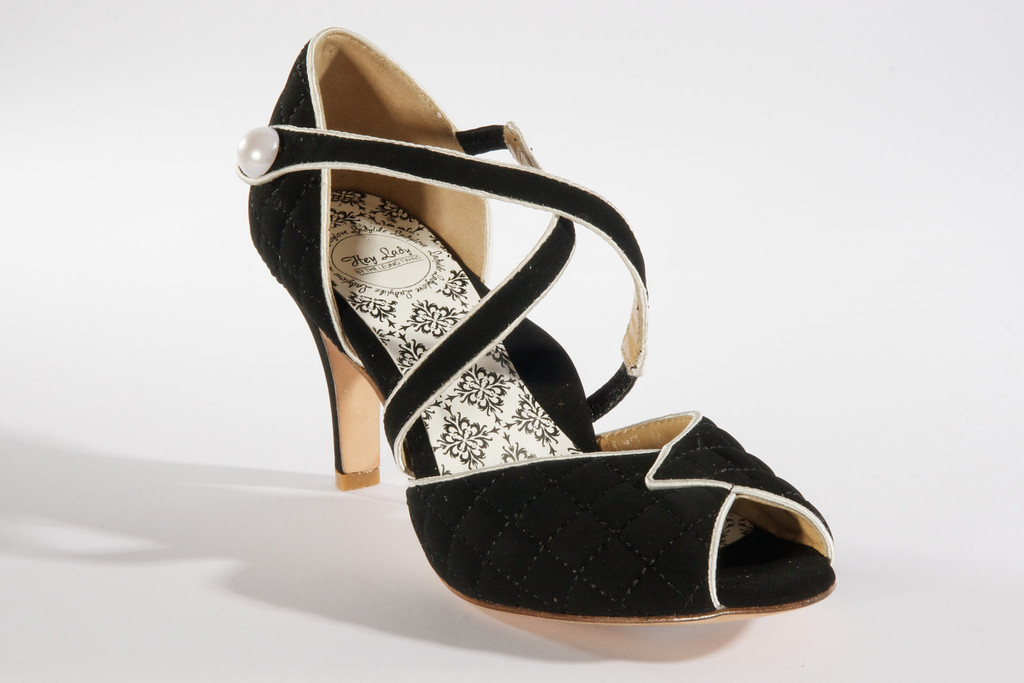 Hey Lady Wedding Shoes Vintage Inspired Bridal Heels Black Pearl Strappy