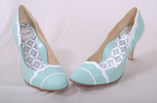hey lady wedding shoes vintage inspired bridal heels pastel aqua scallop details